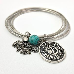 Bangle Bracelet Silver and Turquoise
